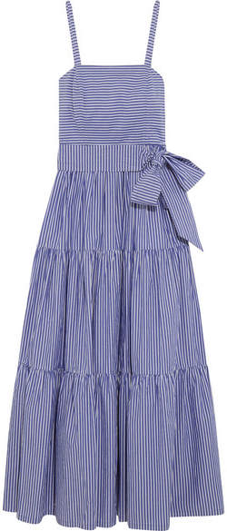 J.Crew - Garratt Tiered Striped Cotton-poplin Maxi Dress - Blue