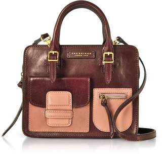 The Bridge Burgundy Genuine Leather Mini Tote Bag