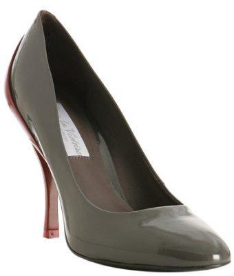 Pour la Victoire grey patent 'Dionne' contrast heel pumps