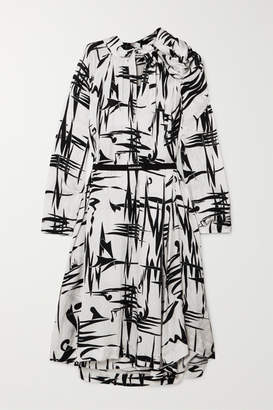 Balenciaga Gathered Printed Silk-jacquard Midi Dress - White