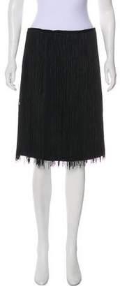 Halston Fringed Knee-Length Skirt
