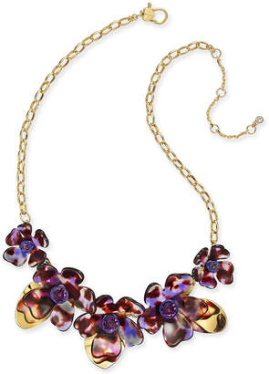 """Kate Spade Gold-Tone Crystal Flower Collar Necklace, 16"""" + 1"""" extender"""