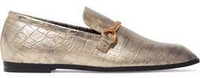 Stella McCartney Chain-Trimmed Metallic Croc-Effect Faux Leather Slippers