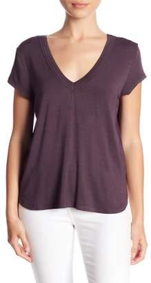 H By Bordeaux Double V-Neck Cap Sleeve T-Shirt (Petite)