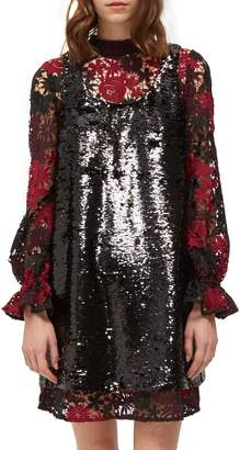 French Connection Cynthia Sequin & Lace Shift Dress