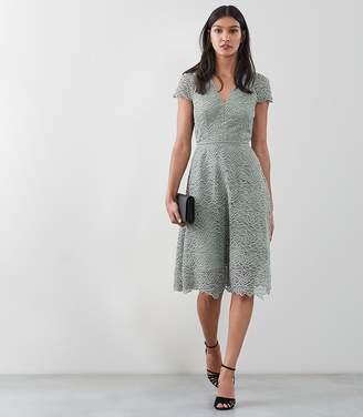 Reiss ARIELLE Lace Dress Pale Green
