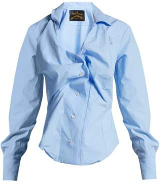 Vivienne Westwood Anglomania - Twisted Cotton Poplin Shirt - Womens - Light Blue