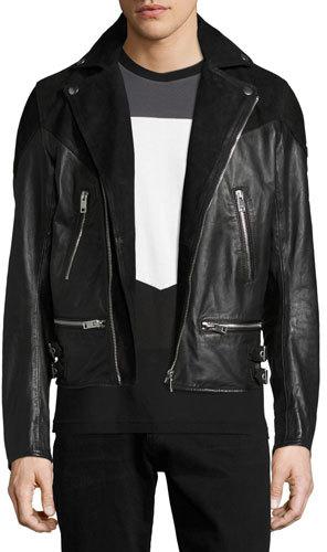 DieselDiesel Leather & Suede Moto Jacket, Black