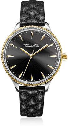 Thomas Sabo Rebel at Heart Two Tone Stainless Steel and Black Quilted Leather Strap Women's Watch w/Crystals