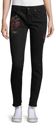 Driftwood Women's Marilyn Skinny Floral Embroidered Jeans - Black, Size 26 (2-4)