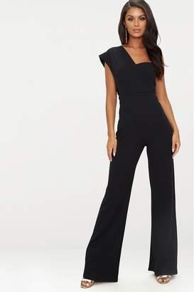 PrettyLittleThing Womens One Shoulder Wide Leg Jumpsuit - Black