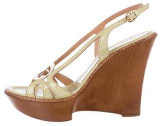 Sergio Rossi Patent Leather Slingback Wedges w/ Tags