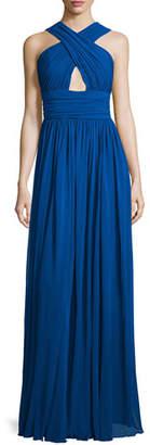 Michael Kors Cross-Front Cutout Gown, Cobalt