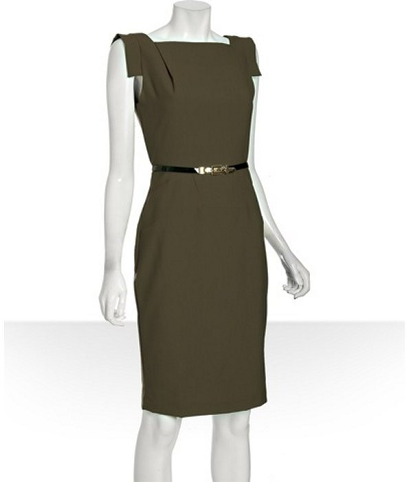 Single olive stretch woven 'Victoria' belted sheath dress