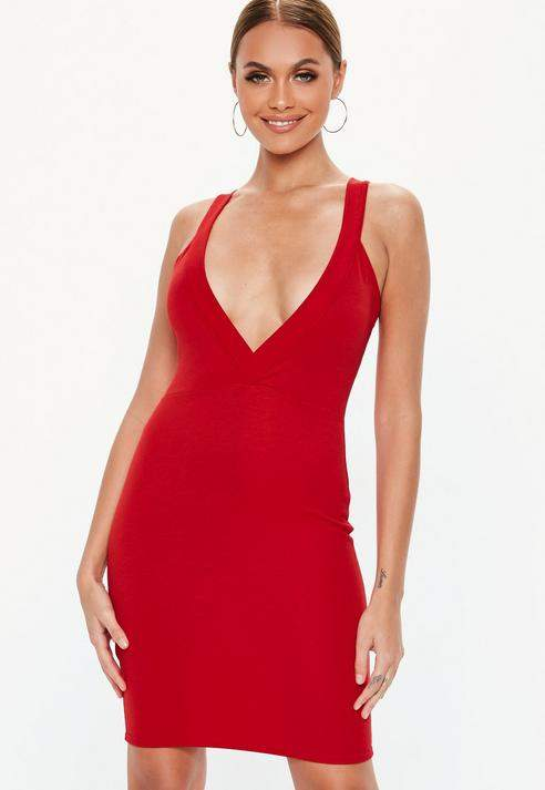 Red Ponte Plunge Bodycon Dress, Red