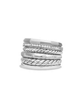 David Yurman 16mm Stax Wide Stacked Ring with Diamonds $1,200 thestylecure.com