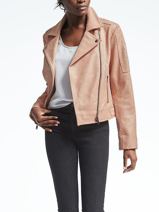 Heritage Blush Leather Moto Jacket