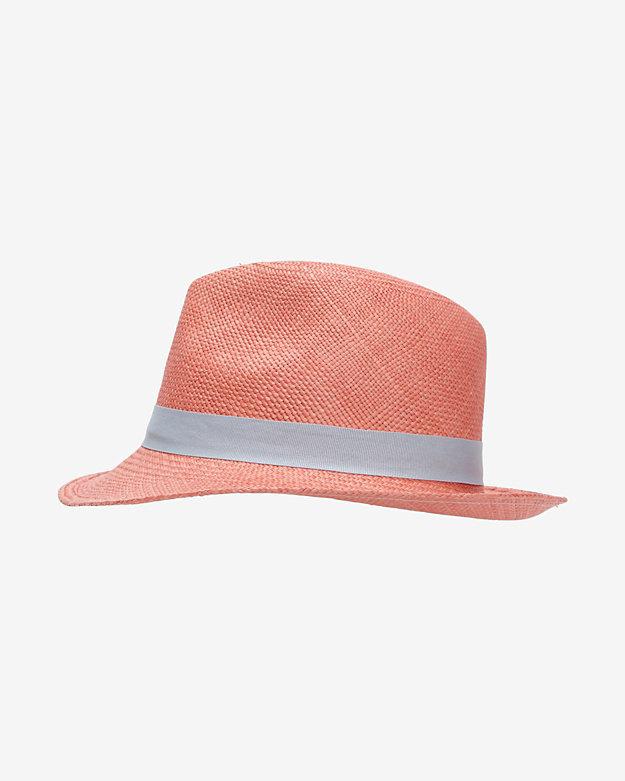 Hat Attack Ribbon Trim Straw Fedora: Coral
