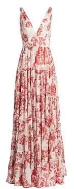 Oscar de la Renta Floral Sleeveless Pintuck V-Neck A-Line Dress