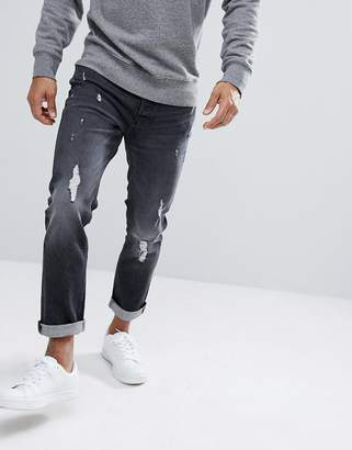 Jack and Jones Intelligence Jeans In Slim Fit With Distressed Washed Denim