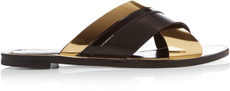 LANVIN Crossover leather slides $570 thestylecure.com