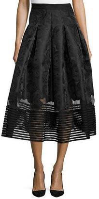 Sachin & Babi Reimei Jacquard Midi Skirt Mesh Detail $695 thestylecure.com