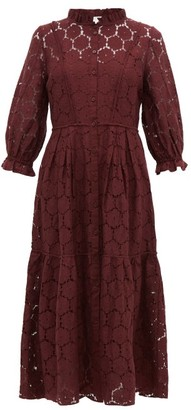 Apiece Apart Suenos Broderie Anglaise Cotton Blend Midi Dress - Womens - Burgundy