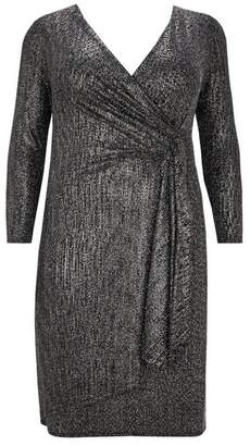 Evans Black and Gold Sparkle Wrap Dress