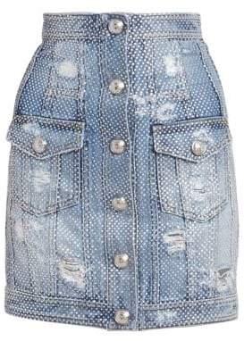 Balmain Women's High-Rise Crystal Denim Mini Skirt - Blue - Size 42 (10)
