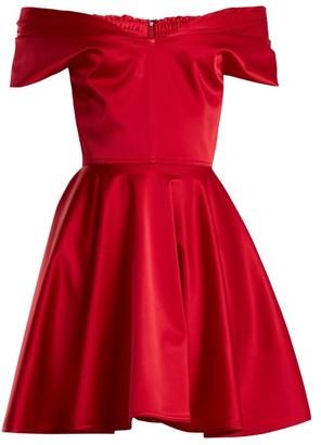 Emilio De La Morena Tamara Off The Shoulder Stretch Silk Dress - Womens - Red