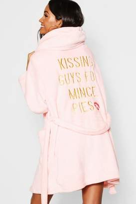boohoo Kissing Guys for Mince Pies Dressing Gown