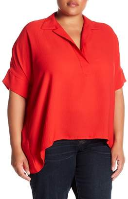 MELLODAY Collared Front Asymmetrical Hem Blouse (Plus Size)
