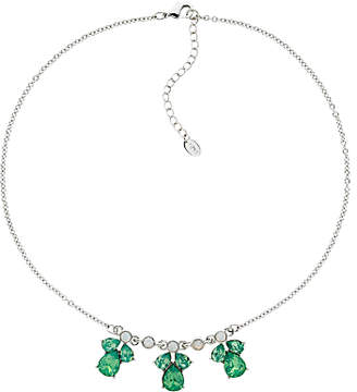 Monet Small Glass Crystal Teardrop Necklace, Silver/Pacific Opal