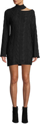 RtA Corin Turtleneck Cutout Mini Sweaterdress