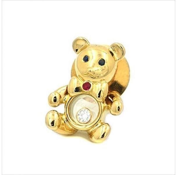 ChopardChopard 750 Yellow Gold Sapphire Ruby Happy Diamond Bear Brooch