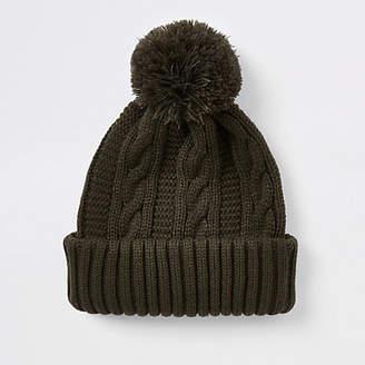 River Island Khaki knit bobble beanie hat