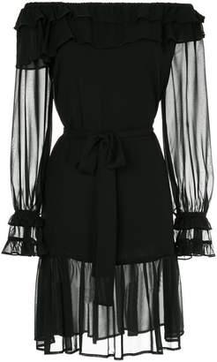 Gold Hawk off-the-shoulder dress