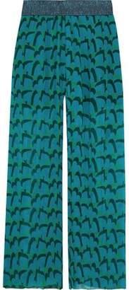 Anna Sui Metallic-trimmed Printed Plisse Silk-georgette Wide-leg Pants