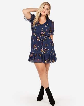 Express Floral Elastic Waist Ruffle Hem Mini Dress