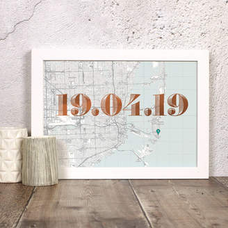 Well Bred Design Personalised Miami Map Print With Date