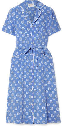 DAY Birger et Mikkelsen HVN - Maria Floral-print Silk Crepe De Chine Dress - Light blue