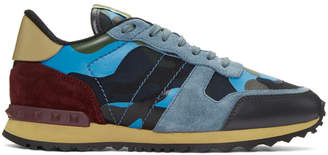 Valentino Navy and Blue Garavani Camo Rockrunner Sneakers