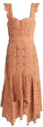 Jonathan Simkhai Cotton Macrame Lace Handkerchief Hem Dress - Womens - Tan
