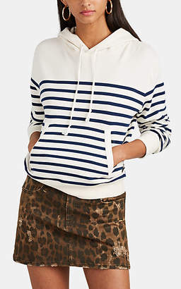 Saint Laurent Women's Striped Cotton Terry Hoodie - White