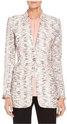St. John Space Dyed Overlay Plaid Knit Jacket