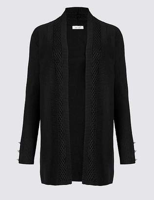 Marks and Spencer Textured Stitch Neck Detail Cardigan