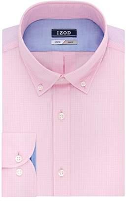 Izod Men's Dress Shirts Slim Fit Stretch Gingham