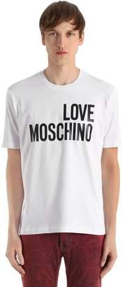 Love Moschino Allover The World Print Jersey T-Shirt