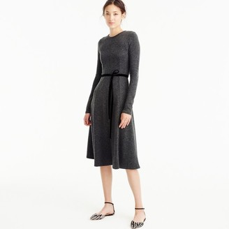 Flared knit midi dress with velvet tie $228 thestylecure.com