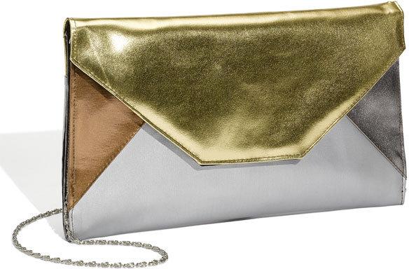 Top Choice Metallic Colorblock Envelope Clutch